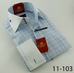Axxess Sky Blue Check High Collar Shirt
