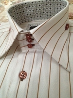 Axxess White Brown Stripes High Collar Shirt size M(14.5 - 15)""