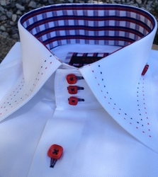 Axxess White Red Blue Stitich High Collar Shirt