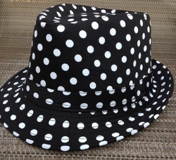 Black White Polka Dot Fedora