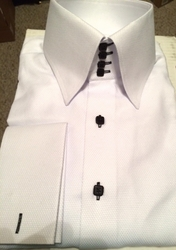 Blowout-MorCouture White Black 4Button High Collar Shirt