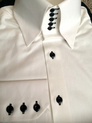 Blowout-MorCouture Flat White Black 5Button High Collar Shirt