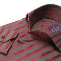 Brown and Wine Satin Stripe 2button High Spread Collar Shirt (button c