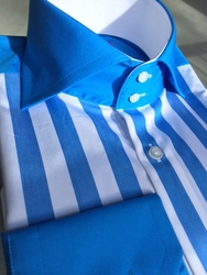 H&C Light Blue White Stripe Spread Collar Shirt