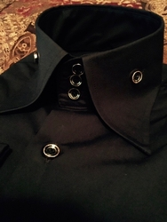 MorCouture Limited Edition Black Gold Trim Button High Collar Shirt