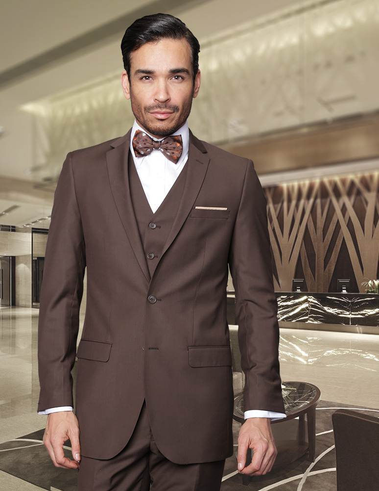 Men's Brown Slim Fit Suit size