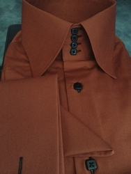 MorCouture 4 Button Rust Black Button High Collar shirt &Hanky