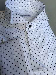 MorCouture Black Small Polka Dot Wing Collar Shirt w/Hanky