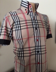 MorCouture Exploded Tan Check Short Sleeve High Collar Shirt