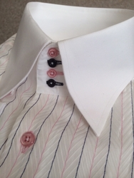 MorCouture Herringbone Pink Navy Stripe High Collar Shirt