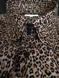 MorCouture Leopard 3 Button High Collar Shirt w/Hanky