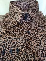 MorCouture Leopard 4 Button High Collar Shirt w/Hanky