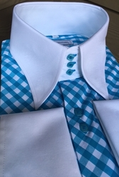 MorCouture Limited Edition Aqua Check High Collar Shirt