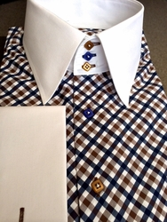 MorCouture Navy Brown Diamond High Collar Shirt w/Hanky