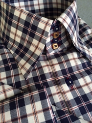MorCouture Navy Ivory Twill Check High Collar Shirt w/Hanky