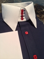 MorCouture Navy Red Button High Collar Shirt