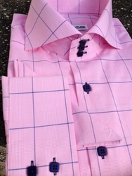 MorCouture Pink Wide Check High Collar Shirt w/Hanky