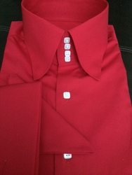 MorCouture Red 4 Button Collar Shirt w/matching Hanky