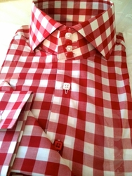 MorCouture Red Gingham Spread High Collar Shirt w/Hanky size L