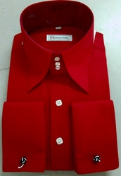 MorCouture Red White 3 button Collar Shirt