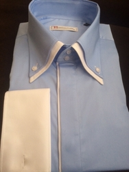 MorCouture Sky Blue White Trim Shirt