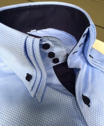Limited Edition MorCouture Sky Navy Triple 3 Button High Collar Shirt