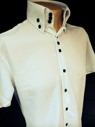 MorCouture White Black Seersucker High Collar Short Sleeve Shirt