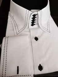 MorCouture White Black Stitch Centipede Collar Shirt