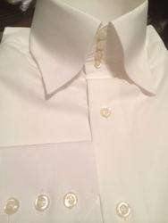 Blowout-MorCouture White Flat Cotton 4Button High Collar Shirt