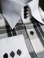 MorCouture White Grey Check 4 Button High Collar Shirt #2