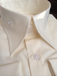 New Angelino Ivory Cotton High Collar Shirt (Special Order)