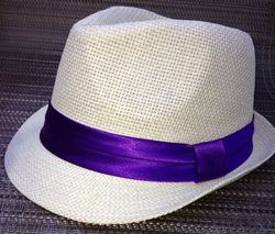 Straw Purple Band Fedora