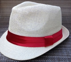 Straw Red Band Fedora