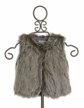 3 Pommes Faux Fur Vest in Grey (18Mos & 3)