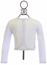 3 Pommes Girls Shrug Sweater in White (3/4,4/5,5/6)