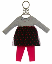 3 Pommes Infant Dress with Polka Dots and Pant (3Mos & 9Mos)