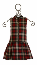 3 Pommes Plaid Zipper Dress for Girls