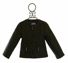 3 Pommes Quilted Moto Jacket Black