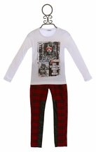 3 Pommes Red Plaid Pant with Graphic Tee