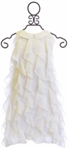 3 Pommes White Dress for Girls with Ruffles