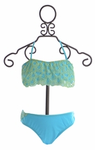 9's Bandeau Bikini for Girls in Aqua (Size 14)