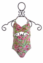 9's One Piece Swimsuit for Girls with Center Cut Out (Size 14)