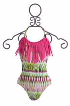 9's One Piece Swimsuit with Fringe (7,12,14)