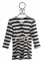 A Bird Black Striped Cardigan for Girls