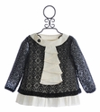 A Bird Kena Mini Girls Tunic in Black Crochet