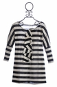 A Bird Marni Dress for Girls Black Stripe