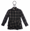 A Bird Plaid Girls Fall Coat with Ruffles