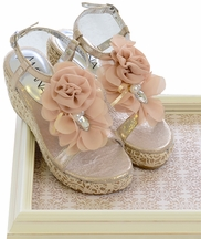 Amiana Girls Gold Wedges with Flowers (Size 33/US 2)