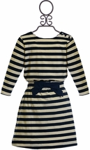 Anthem of the Ants Girls Dress in Navy Stripe