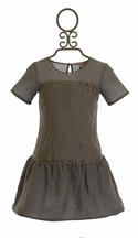 Appaman Lace Dress in Gray Drop Waist